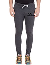 American-Elm Dark Grey Printed Trackpant for Men