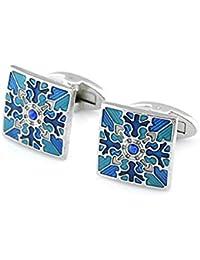 Covink® Royal Oriental Colección Classic Cloisonne Cufflinks Imperial Esmalte Blue Diamond Sleeve Button