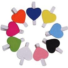 cosanter 50unidades pequeñas Corazón Madera Pinzas Pinzas Pinzas de Madera decorativa en diferentes colores
