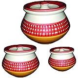 Saptraag Handmade Ceramic Handi Set Of 3 With Lid