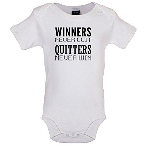 Dressdown Winners Never Quit - Lustiger Baby-Body - Weiß - 12 bis 18 Monate -