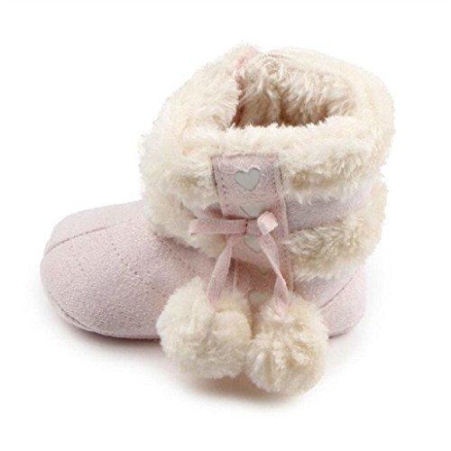 Auxma Für 0-18 Monate Baby Schuhe Baby-Winter-warme erste gehende Schuhe weiche Sole-Schnee-Aufladungen weiche Krippe-Schuhe Kleinkind-Aufladungen (6-12 M, Rosa) Rosa