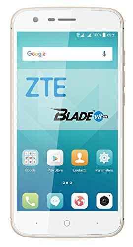 ZTE V8 Lite - Smartphone Libre de 5' (4G, Octa-Core 1.5GHz, 2 GB RAM, Almacenamiento Interno de 16 GB, Bluetooth, WiFi, Android) Color Dorado