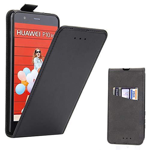 Coque Huawei P10 Lite, Supad Etui à rabat protecteur en cuir véritable pour Huawei P10 Lite (Noir)