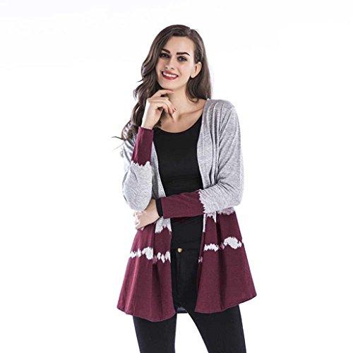 VEMOW Herbst Heißer Verkauf Mid-Season Damen Frauen Farbverlauf Tops Casual Tägliche Sport Workout Kragenlose Weben Strickjacke Jacke (Weinrot, EU-36/CN-S)