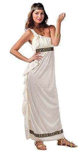 Damen Olympier Goddess Römisch Griechisch Griechisch Toga Maxi Kleid Antike Historisch Kostüm Kleid Outfit 14-18 - Weiß, (Kleid Toga Griechische)