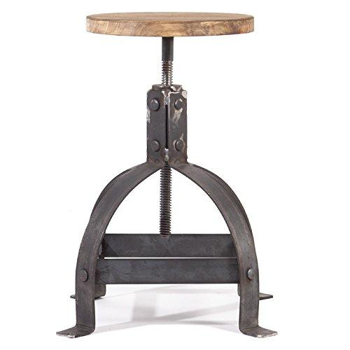Indhouse - Taburete Vintage de Estilo Loft Industrial en Metal y Madera Tribeca
