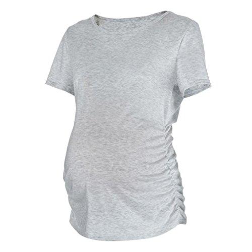 MRULIC Womens Mutterschaft Klassische Seite Geraffte Tops Schwangerschaft Kleidung Top Bluse Shirt(Grau,EU-40/CN-M)