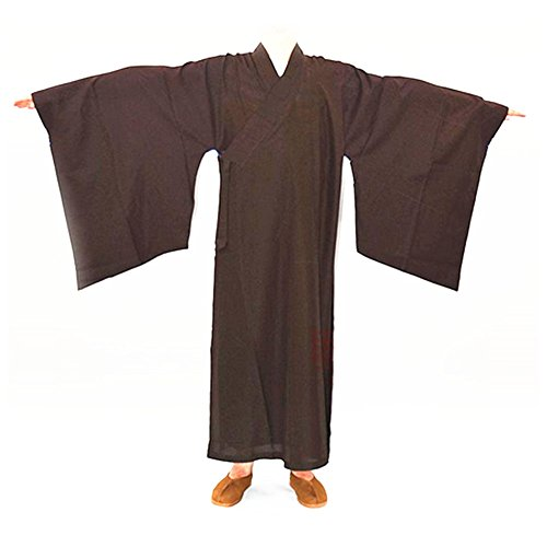 Price comparison product image Buddhist Shaolin Monk Kung fu Robe Meditation Long Gown Suit coffee XL