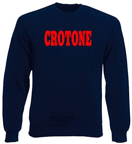 T-Shirtshock Rundhals-Sweatshirt fur Mann Blau Navy WC0866 CROTONE Calabria Italia CITTA Stemma Logo