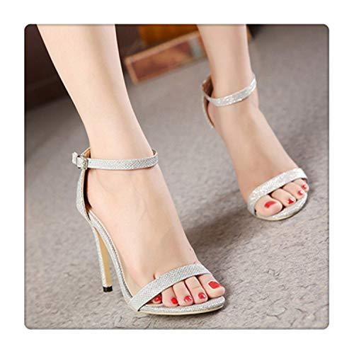 happy&live Women Shoes Sandals Womans Shoes Fashions 2019 Jelly Sandals high Heels Sandales Femme 2019 Nouveau sexy Women high Heel Sandals Silver 4.5 - Naturalizer Ankle Strap Sandalen