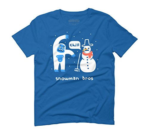 Snowman Bros Men's 3X-Large Royal Blue Graphic T-Shirt - Design By (Snowman Abominable Hat)