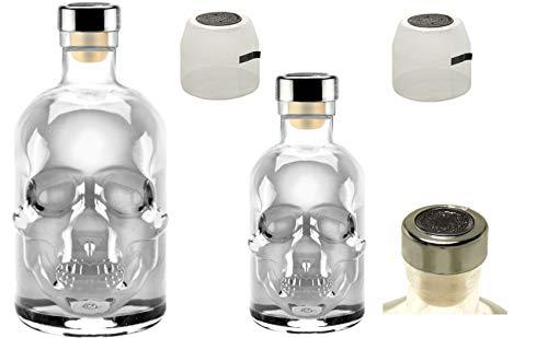 Totenkopf Flasche Skull leer 0,5L & 0,2L Profi Set mit Titan Kappe u. Schrumpfkapsel Piraten Schädel