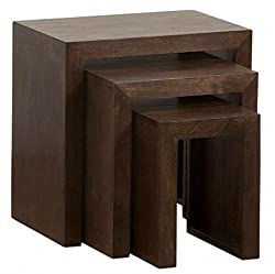 TimberTaste Solid Wood Nesting Tables, Set of 3 (Lacquer Finish, Dark Walnut)