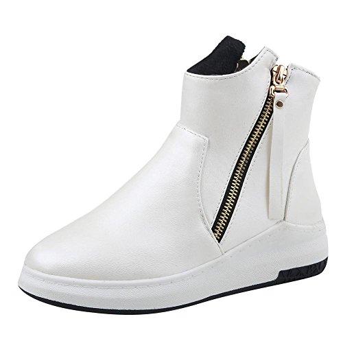 UH Chaussures Femmes Bottines Fermeture Eclaire à Talons Plates Conforts et pour Sport à la Mode Hiver 2017 Blanc