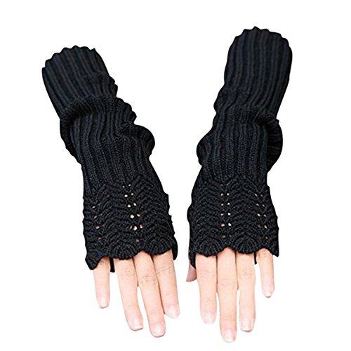 Stofirst Frauen Damen Herbst Winter Stricken Häkeln Long Fingerless Warm Handschuhe Fäustlinge Einfarbiges Wellenmuster Höhle heraus Handgelenk Warmers Armwärmer Handwärmer (Palm, Handgelenk-handschuh Stricken)