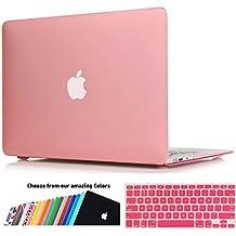 Funda MacBook Air 13 pulgada,iNeseon(TM) 2 in 1 [Frosted Series]Ultra Delgado Carcasa Dura Shell Case US Versión Rosa e EU Versión Transparent Cubierta del Teclado para Apple MacBook Air 13/13.3 pulgada [Modelo:A1466 e A1369](Rosa)
