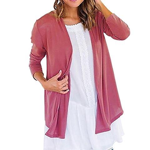 Femme Chemisier, Feixiang exclusif customisation Femme massif ouvert Cape décontracté Manteau ample Chemisier Kimono Veste Cardigan, plastique, rose, L