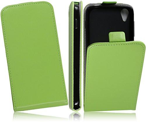 Premium Slim Flexi Handytasche für Alcatel One Touch Idol 3 4.7 Zoll (6039) Flip Case Schutzhülle Slim Design Tasche Hülle Cover Flip Style Klapptasche Vertikaltasche Mit Bruchfester Innenschale (Grün/Green)