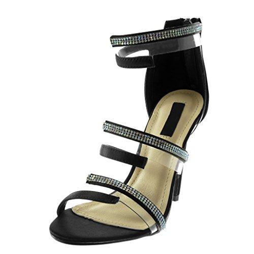 Angkorly Chaussure Mode Escarpin Sandale Stiletto Montante Lanière Cheville Femme Strass Diamant Multi-Bride Transparent Talon Haut Aiguille 11 CM Noir