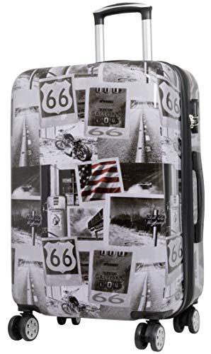 Trendyshop365 Hartschalen City-Koffer mit Motiv Bedruckt - Amerika USA Motorrad - 68 Zentimeter 69 Liter 4 Rollen Städtemotiv