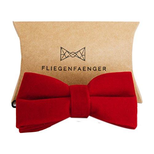 Preisvergleich Produktbild Herren Fliege [Rot] vorgebunden aus [edlem Samt] für deinen Anzug individuell verstellbar inklusive Geschenk Box
