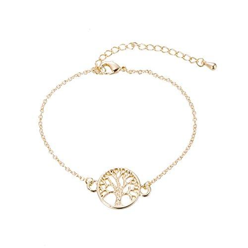 Foto de Pulsera de cadena Good.designs con colgante de árbol de la vida, Gold überzogen, 16 - 20 cm