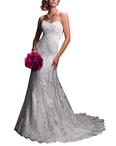 XUYUDITA Applikationen Lange Nixe-Spitze-Perlen Hofzug Brautkleid Frauen White-UK6