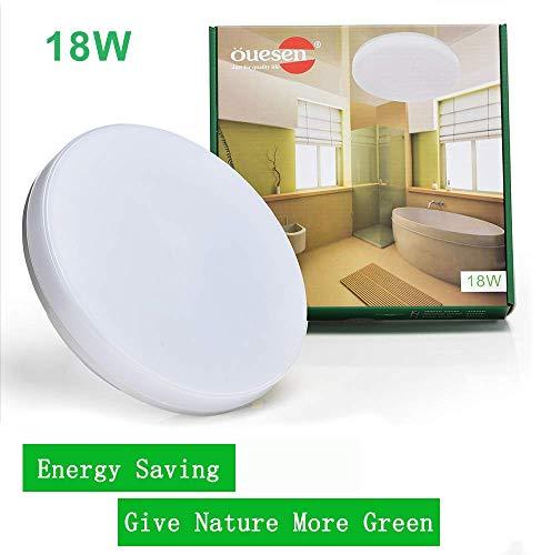 Ouesen Deckenleuchte Led lampe IP44 rund wasserfest badezimmer deckenlampe wohnzimmer bad flur lampen schlafzimmer 18w 3000k Warmweiss Ceiling Light