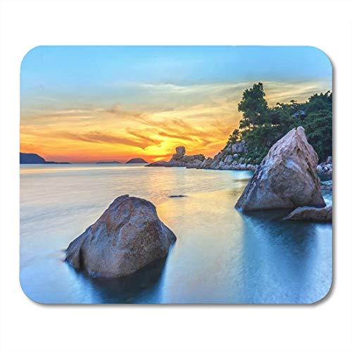 Mauspad Orange Landschaftssonnenaufgang auf Hon Chong Cape Nha Trang Mousepad für Notebooks, Desktop-Computer Mauspads -