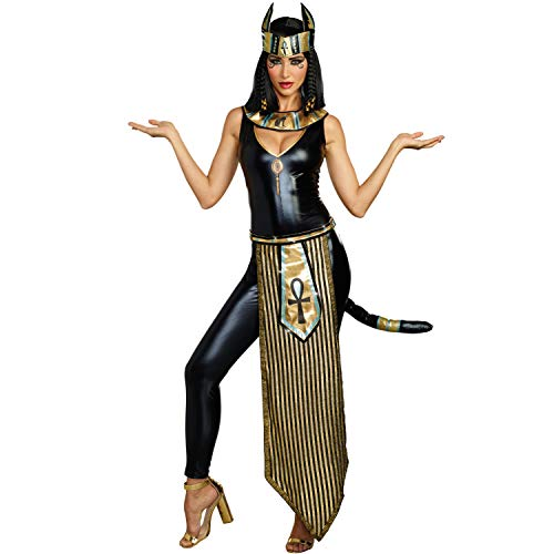 Kostüm Katze Göttin - Dreamgirl Damen Kostüm ägyptische Göttin Bastet Katzen-Göttin Katze Göttin Fasching (L)
