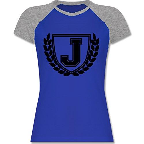 Anfangsbuchstaben J Collegestyle zweifarbiges Baseballshirt / Raglan TShirt  für Damen Royalblau/Grau meliert