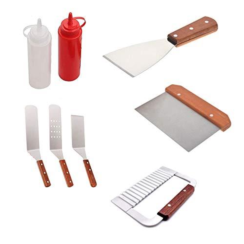 jiuloner -8Pcs Professionelles Grillzubehör-Set, Hochleistungs-Edelstahl-Grillwerkzeugset Zum Kochen, Camping, Backen -