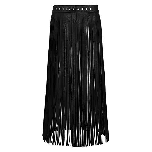 CHICTRY Damen Flapper Rock Gürtel Quaste Kunstleder Hip-Hop Punk Gurt für Rock Kleid Verstellbare Größe (One Size, Y Schwarz Lange Röcke)