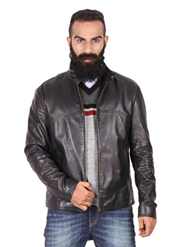 THEO & ASH Classic Zipper Leather Jacket for Men, Black