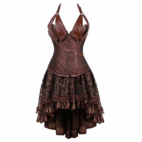 Steampunk Mujeres Corset Dress Vestido corsés y Bustiers Disfraces Burlesque Sexy Marrón M