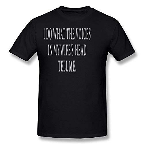 Ity-T Moda I Do What The Voices in My Wifes Head Tell Me Maglietta Uomo  Costume Cotone Black Magliette