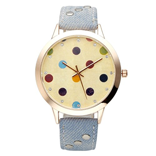 JSDDE Uhren,Elegant Damen Armbanduhr Farbig Punkt Zifferblatt Damenuhr Jean Kunstleder Analog Quarzuhr Kleid Armbanduhr