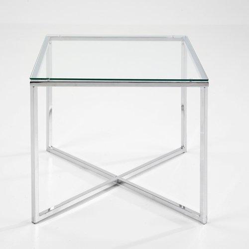 lounge-zone Beistelltisch Couchtisch Wohnzimmertisch Glastisch NEPTUN chrom Chromgestell Glasplatte transparent Klarglas eckig 50x50x45cm 721