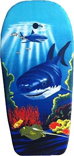 EXPLORER Bodyboard HAI 94x47x5cm Schwimmboard Board Surf Wal mit Halteleine und Klett Surfboard Schwimmbrett Strand Wasser Sommer Wellen Wellenreiten