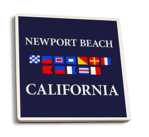 Newport Beach, Kalifornien-Nautische Flaggen, keramik, mehrfarbig, 4 Coaster Set -