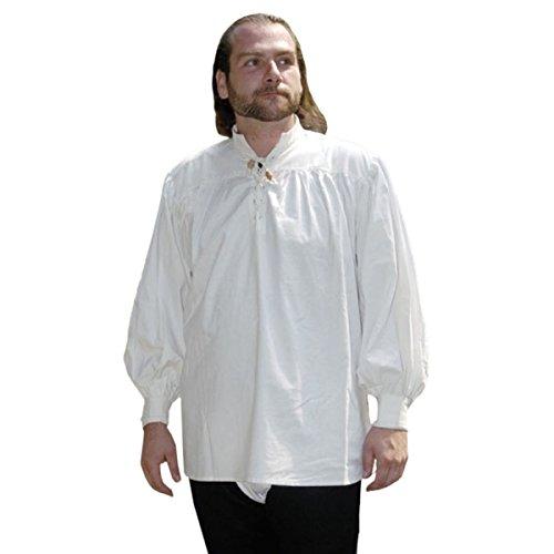 Mittelalter Piratenhemd mit Stehkragen,Baumwollhemd, kragenlos, Spitze mit Schnüren, Weiß,Herren Hemden, LARP (XL)