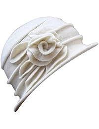 a3ed315fe40a7 Sombrero Moda De Invierno Floppy Sombrero De Fieltro De Flor Bastante Gorro  Cálido Elegante Estilo Moderno Y Sencillo Campana Sombrero…