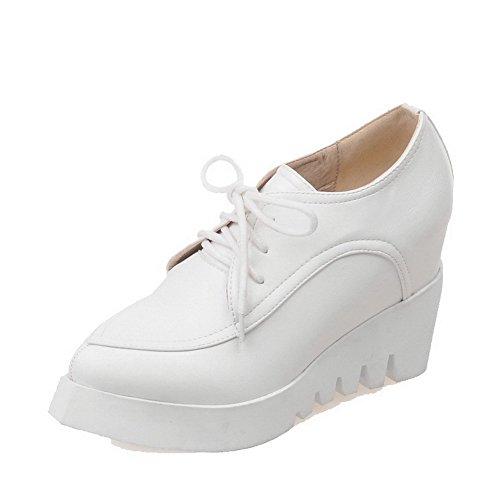 VogueZone009 Damen Schnüren PU Leder Rund Zehe Hoher Absatz Rein Pumps Schuhe, Weiß, 39