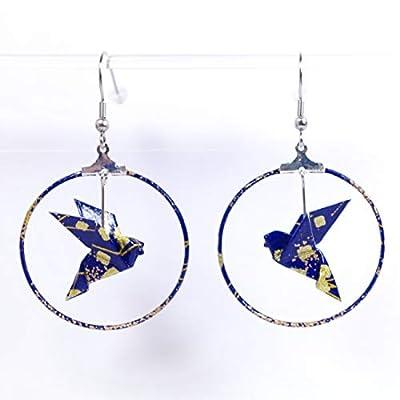Boucles d'oreilles colombes origami créoles bleues et dorées - crochets inox