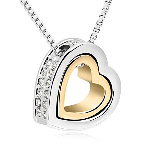 Nakabh Heart Gold Pendant Necklace For Girls And Women