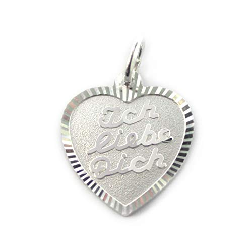 MyOwnName 925er Silber Herzanhänger ❤ Ich Liebe Dich ❤ mit persönlicher Gravur für Damen und Herren aus 925er Silber