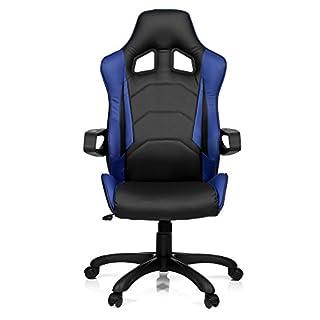 hjh OFFICE 621839 Gaming Chefsessel RACER PRO I Kunstleder Schwarz/Blau moderner Bürostuhl mit Wippfunktion