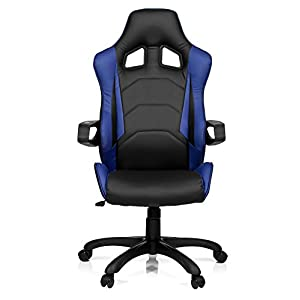 hjh OFFICE Racer Pro I Silla de Oficina, Negro y Azul, 50.00×57.00×138.00 cm