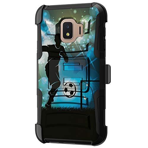 TurtleArmor - Kompatibel mit Samsung Galaxy J2 Core Hülle, J2 Armaturenbrett-Hülle, Hyper Shock, Armor Hybrid Cover Kickstand Impact Gürtelclip Sport und Spiele -, Soccer Player Graphic